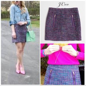 🆕 J. Crew Purple Bouclé Tweed Gold Zip Mini Skirt